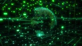 Nube grande de los datos alrededor de Internet computacional digital de la conexión de red de la representación del extracto 3D d stock de ilustración