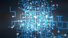 Nube grande del binario de los datos del azul que brilla intensamente almacen de video