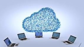 Nube grande del binario de los datos del azul que brilla intensamente metrajes