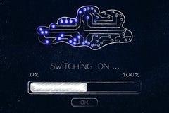 Nube hecha de circuitos electrónicos con el cargamento de la barra de progreso y fotografía de archivo