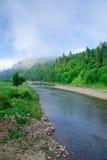 Nube hermosa, bosques, montaña cerca del río en Ucrania Fotos de archivo