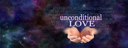 Nube incondicional de la palabra del amor Imagen de archivo libre de regalías