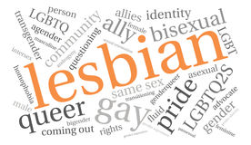 Nube lesbiana de la palabra Imagenes de archivo