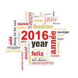 nube multilingüe de la palabra del texto del Año Nuevo 2016 Fotografía de archivo
