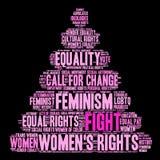 Nube para mujer de la palabra de las derechas de la lucha Imagen de archivo libre de regalías