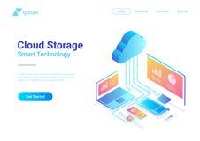 Nube plana isométrica que recibe vecto del almacenamiento de la red stock de ilustración