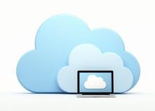 Nube que computa, computadora portátil delante de la nube Imágenes de archivo libres de regalías