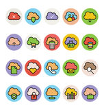 Nube que computa los iconos coloreados 1 del vector Imagen de archivo libre de regalías