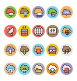 Nube que computa los iconos coloreados 2 del vector Imagen de archivo libre de regalías