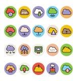 Nube que computa los iconos coloreados 4 del vector Imágenes de archivo libres de regalías