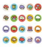 Nube que computa los iconos coloreados 3 del vector Fotografía de archivo