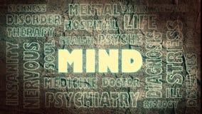 Nube relativa de las palabras de la mente Imagen de archivo