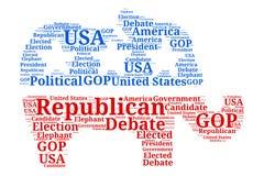 Nube republicana de la palabra del discusión en elefante Foto de archivo
