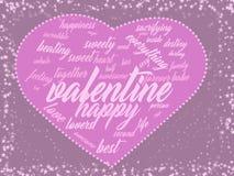 Nube rosada de la palabra del corazón de la tarjeta de la tarjeta del día de San Valentín libre illustration