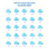 Nube SEO Blue Tone Icon Pack - 25 sistemas del icono ilustración del vector