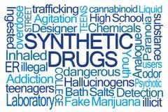 Nube sintética de la palabra de las drogas Fotografía de archivo
