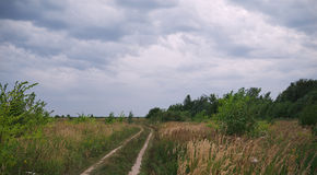Nube sobre campo del verano Foto de archivo