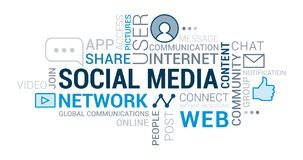 Nube social de la etiqueta de los medios y de las redes ilustración del vector