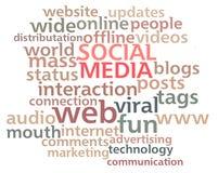 Nube social de la palabra de los media Fotografía de archivo libre de regalías