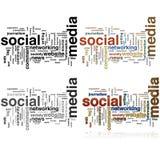 Nube social de la palabra de los media Foto de archivo libre de regalías