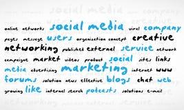 Nube sociale di parola di media Fotografie Stock
