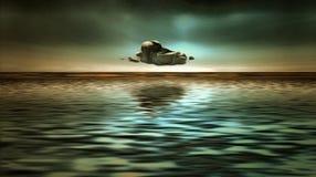 Nube sopra acqua canvas royalty illustrazione gratis