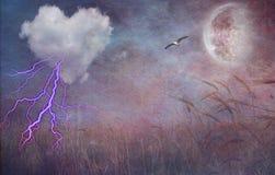 Nube texturizada del corazón y campo abierto libre illustration