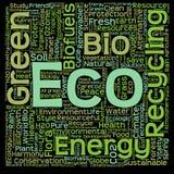 Nube verde conceptual de la palabra del eco o de la ecología Imagen de archivo libre de regalías