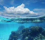 Nube y arrecife de coral del cielo de la imagen partida subacuáticos Foto de archivo libre de regalías