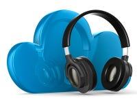 Nube y auricular en el fondo blanco Fotografía de archivo libre de regalías