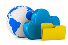 Nube y carpeta en el fondo blanco Imagen de archivo libre de regalías
