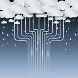 Nube y lluvia de la tecnología ilimitadas Foto de archivo libre de regalías