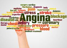 Nube y mano de la palabra de la angina con concepto del marcador imágenes de archivo libres de regalías