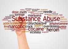 Nube y mano de la palabra del abuso de sustancia con concepto del marcador libre illustration