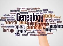 Nube y mano de la palabra de la genealogía con concepto del marcador imagen de archivo libre de regalías