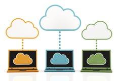Nube y ordenadores portátiles Fotos de archivo libres de regalías
