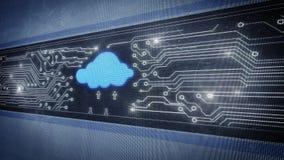 Nube y placa de circuito en diseño del pixel ilustración del vector