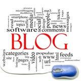 Nube y ratón de la palabra del blog Imagen de archivo libre de regalías