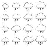 Nube y relámpago, tormenta en el fondo blanco stock de ilustración