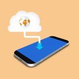 Nube y smartphone, ejemplo del teléfono celular Imagen de archivo