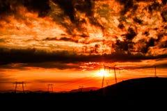 Nubes asombrosas de la puesta del sol Fotos de archivo