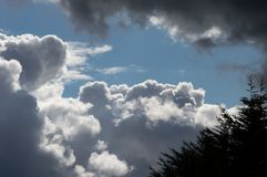 Nubes Billowing del blanco gris con el cielo azul Clima tempestuoso imagen de archivo libre de regalías