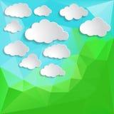 Nubes blancas en una parte posterior poligonal del triángulo abstracto verde stock de ilustración
