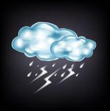 Nubes con el relámpago y la lluvia en oscuridad stock de ilustración