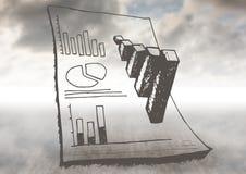 Nubes con garabatos del gráfico y del papel Fotografía de archivo libre de regalías