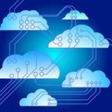 Nubes conectadas electrónicas Fotos de archivo libres de regalías