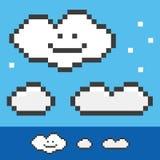 Nubes de 8 bits retras fijadas, colección del pixel Imagen de archivo