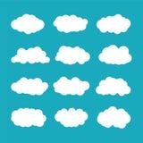 Nubes de cúmulo del vector fijadas en estilo plano ilustración del vector