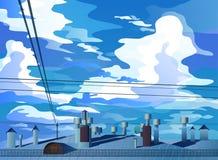 Nubes de cúmulo grandes sobre el vector de los tejados stock de ilustración