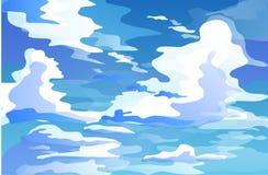 Nubes de cúmulo masivas en el cielo durante el vector del día stock de ilustración